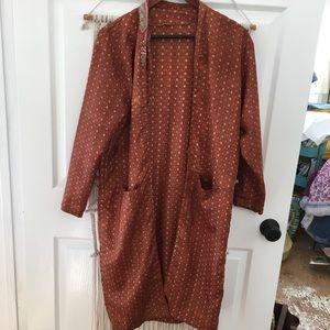 Vintage Silk & Polyester Boho Patterned Open Robe